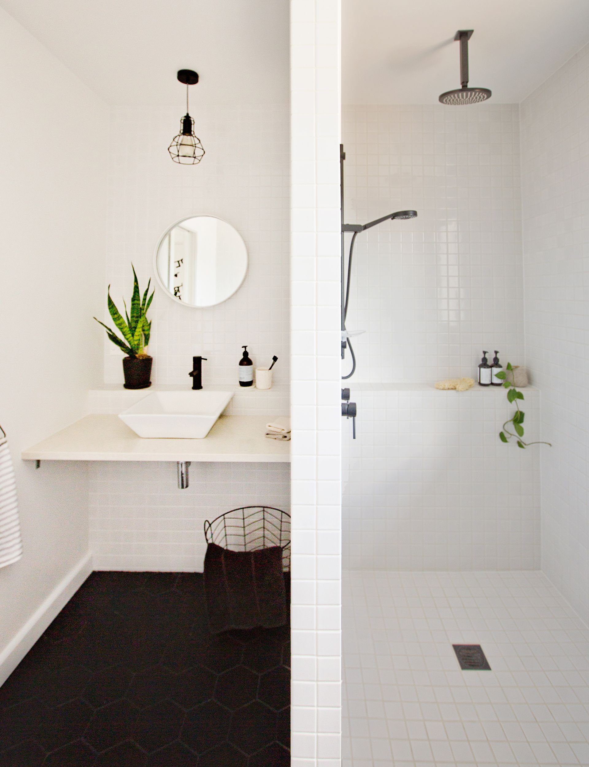 An original 1960s bathroom gets a black and white makeover - | 1960s ...