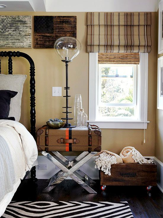 Place an old suitcase on top of an end table for a stylish nightstand.…