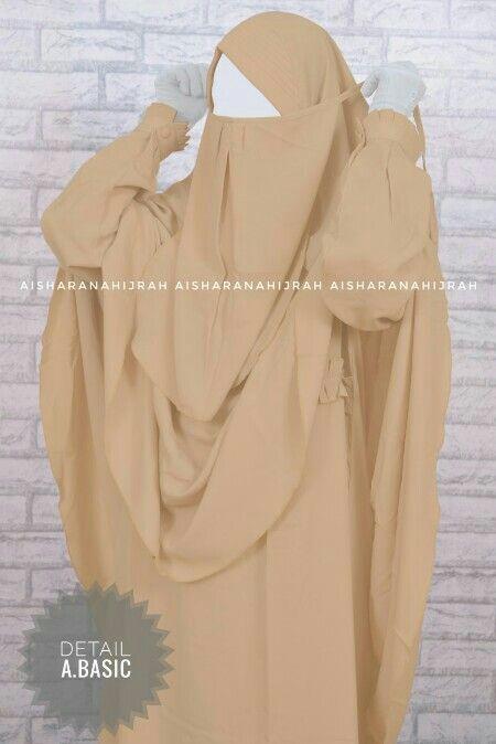 A Basic Gamis Khimar Cadar Tali Nursing Friendly Khimar Instan Pet Fabric Wolvis Lebar Bawah 1 5m Retail Veiled Woman Muslimah Dress Fashion