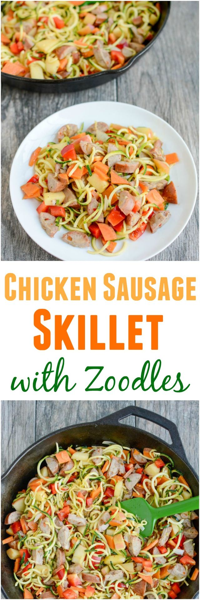 Chicken Sausage Skillet with Zoodles