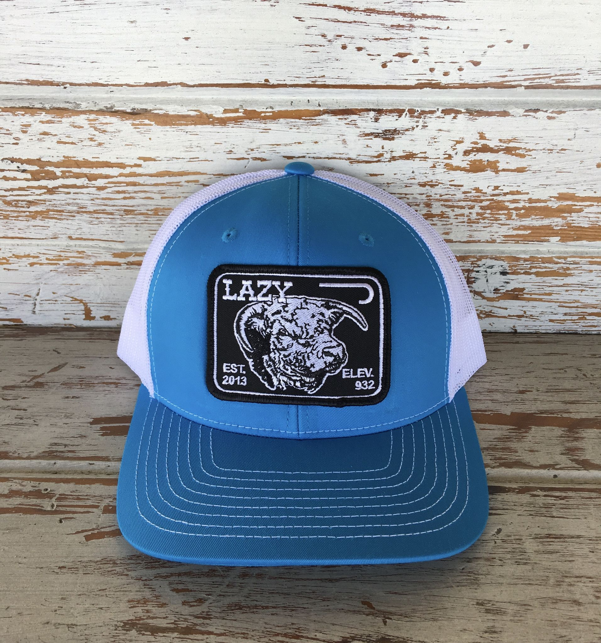 b36307e1c177c Lazy J Ranch Wear Elevation Patch Hat (Cyan White) 3.5