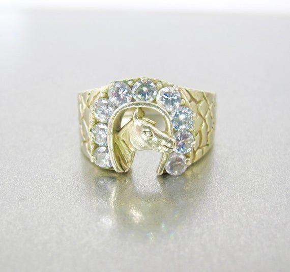 c263ef55fbe47 Men's Horseshoe Ring. Vintage Lucky Horse Horseshoe Equestrian 14K ...