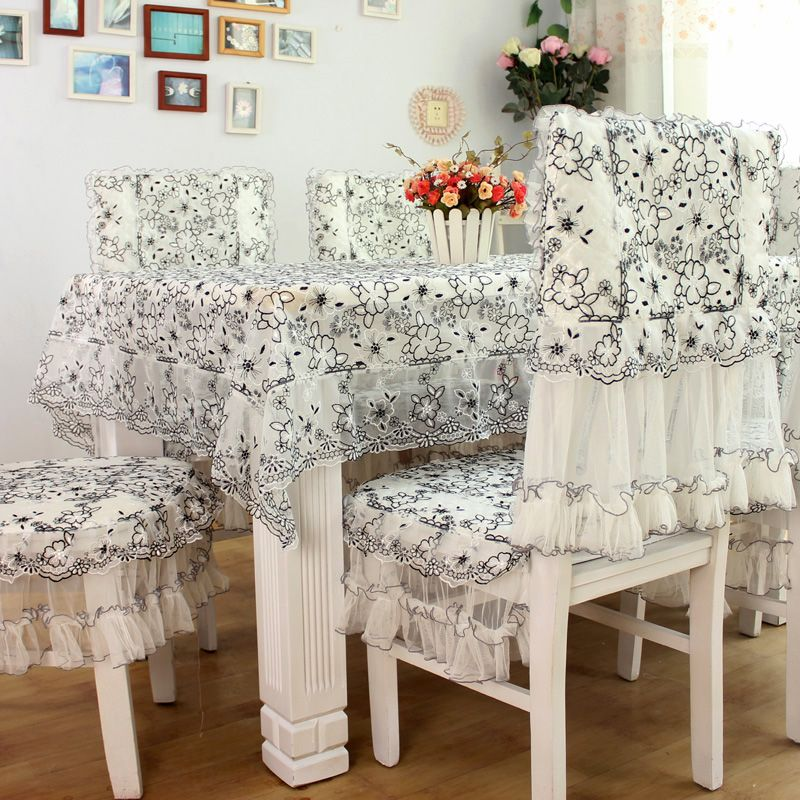 Quality Dining Room Chair Covers Child S Rocking Cushion Pattern Find More Information About Table Cloth Luxury Embroidery Organza Fabric Black Flower White Rustic Tables Chairs Set High