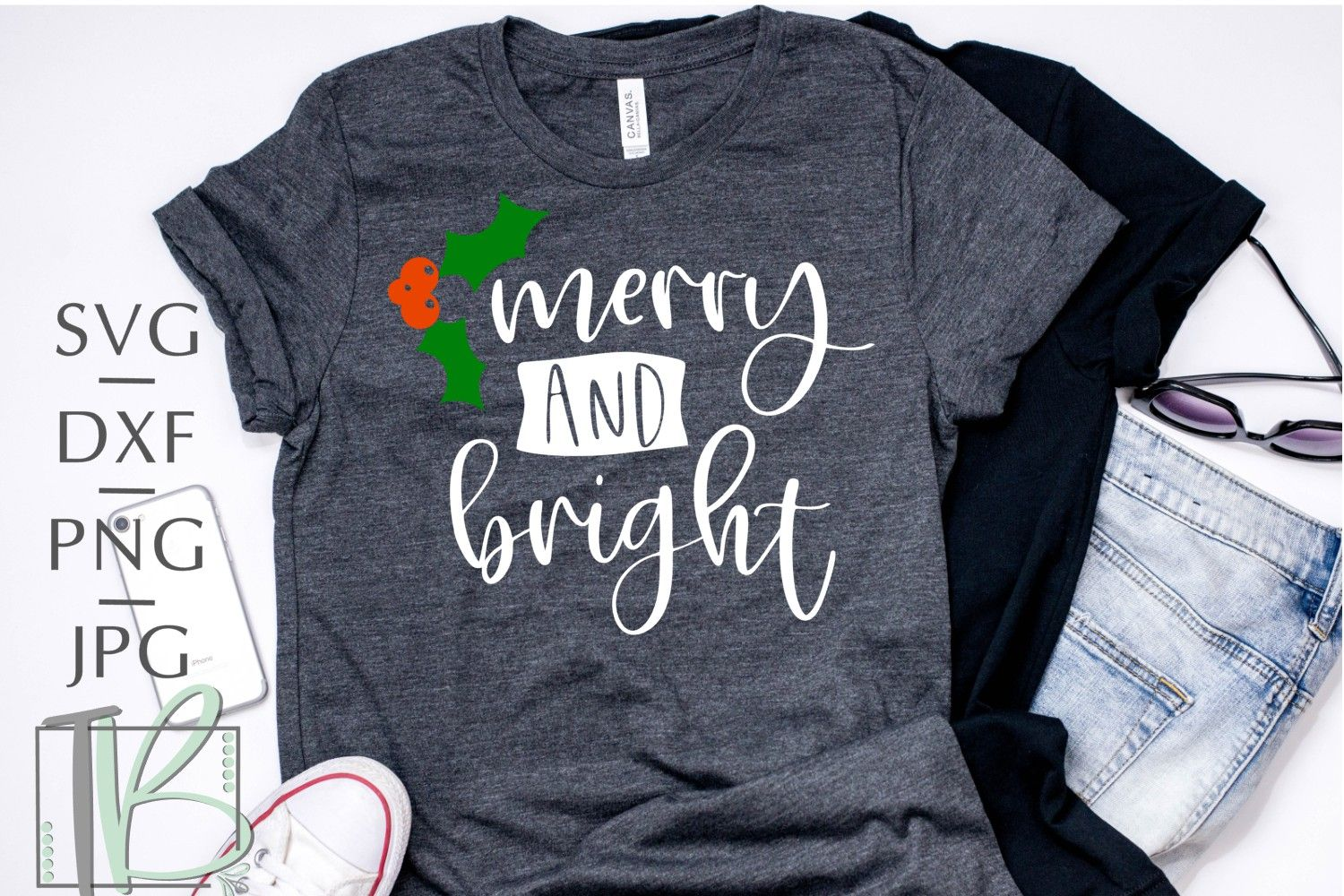 Merry and Bright SVG, Holly SVG Cricut, Crafting shirts