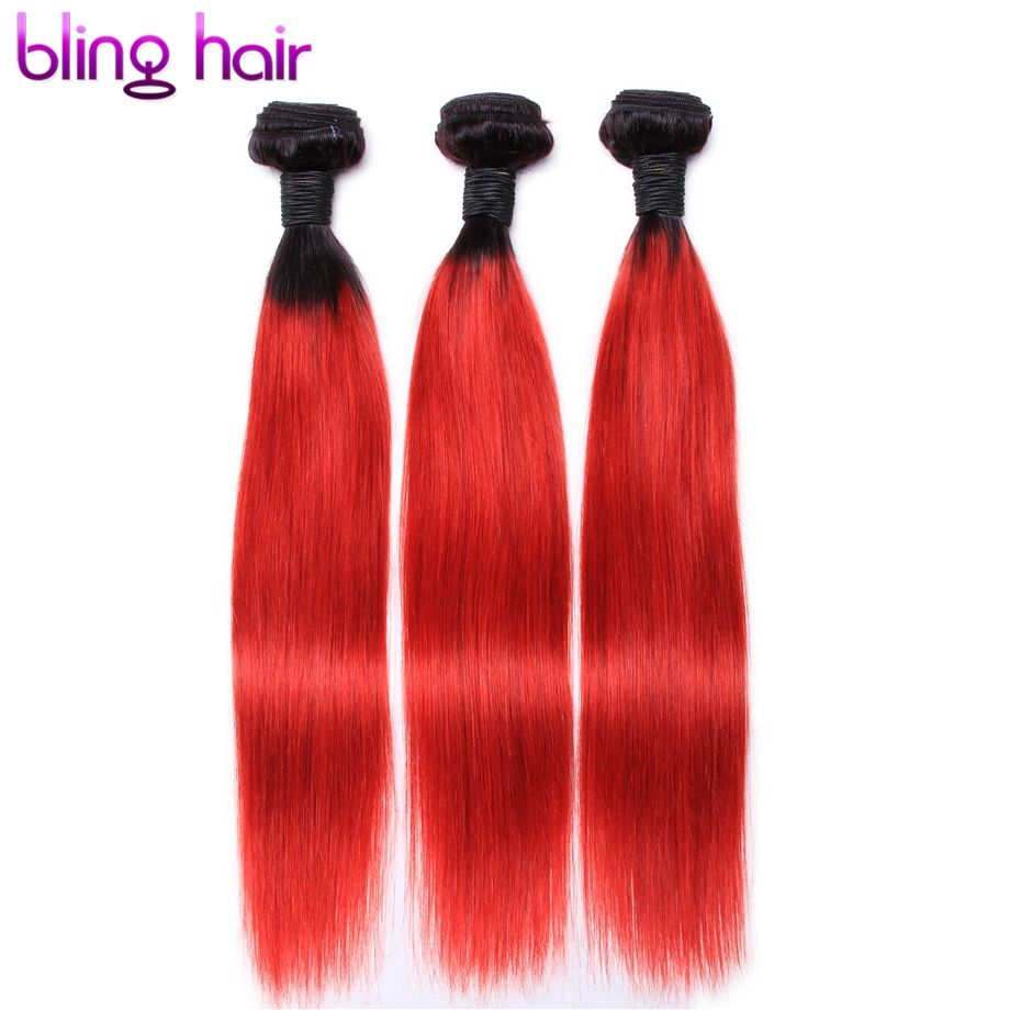 Bling Hair Brazilian Straight Hair 1b Red Ombre Hair Weave Non Remy