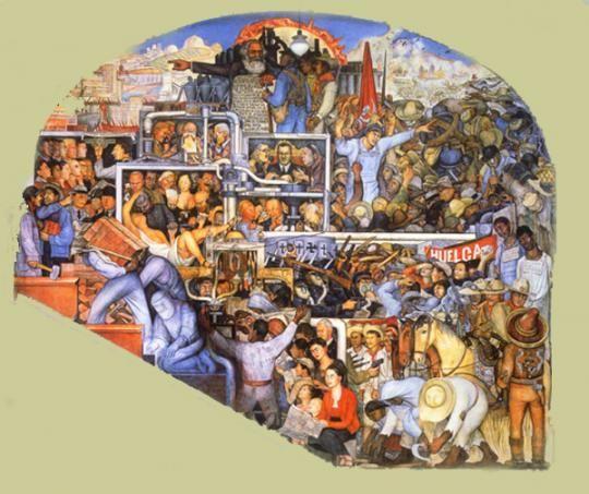 *  Le Mexique d'aujourd'hui et demain » panneau gauche de l'ensemble peint au Palacio Nacional, Diego Rivera, 1935.