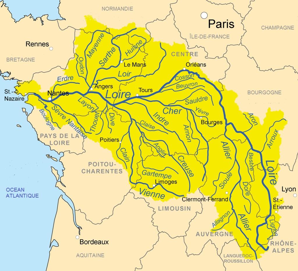 Loire River Tribs Map Loire Wikipedia Loire Fleury Les
