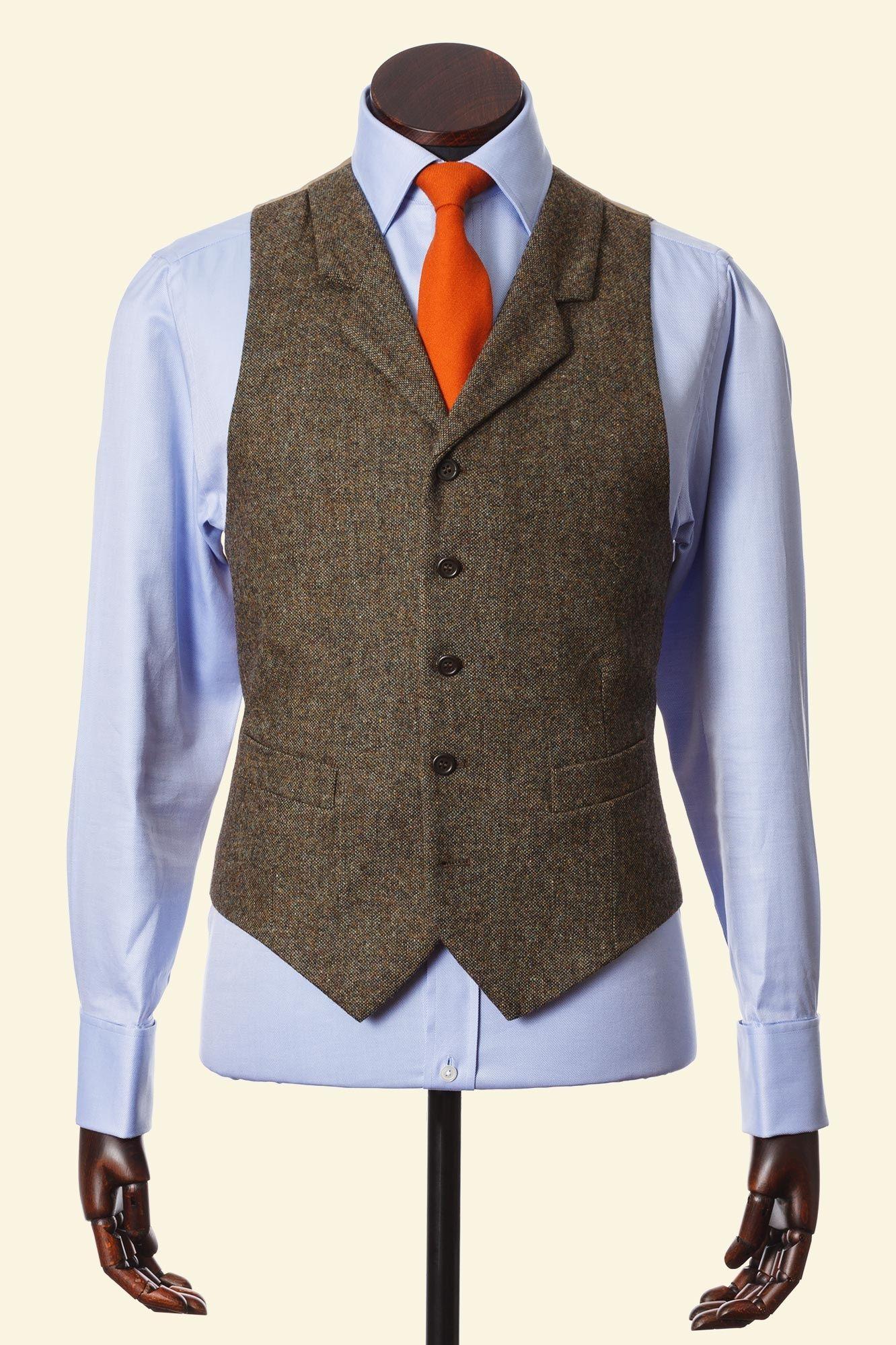 Moss Shetland Donegal Tweed Edward Waistcoat Walker Slater Tweed Specialists