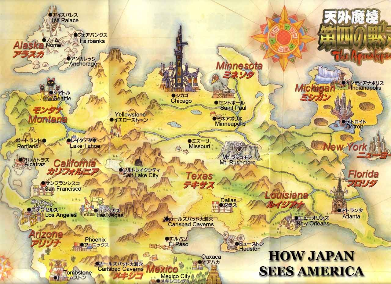 Map Of The USA Made In Japan Cartoon Rpg And Of - America map chicago