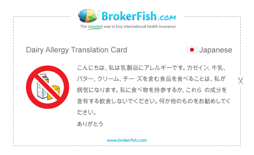 Dairy Allergy Translation Card Japanese Allergies