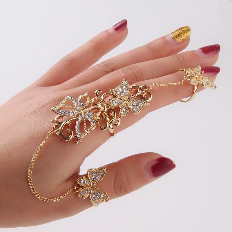 Butterfly Fingers Rhinestone Encrusted Full Finger Rings
