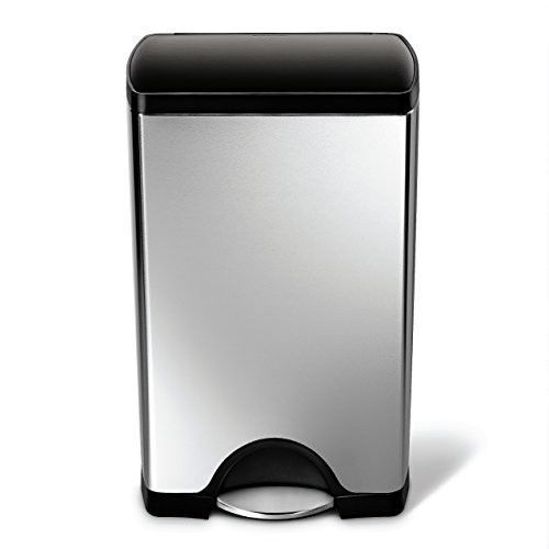 Stainless Steel Trash Can 10 Gallon Step Open Lid Garbage Kitchen Office Garage Simplehuman Kitchen Trash Cans Trash Can Simplehuman