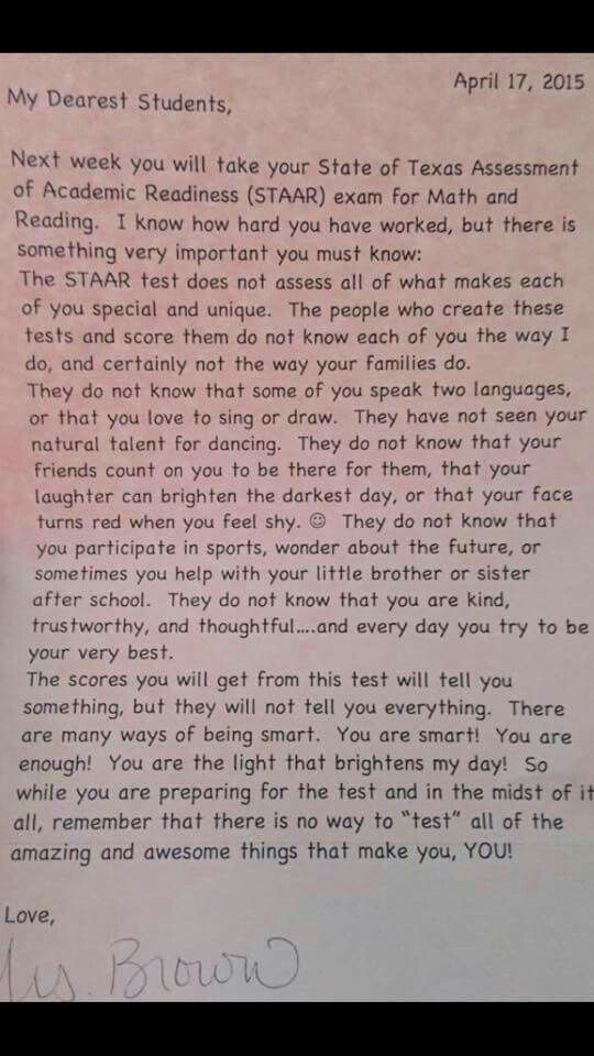 Letter To Kids Before State Exam Written By Teacher In Tx