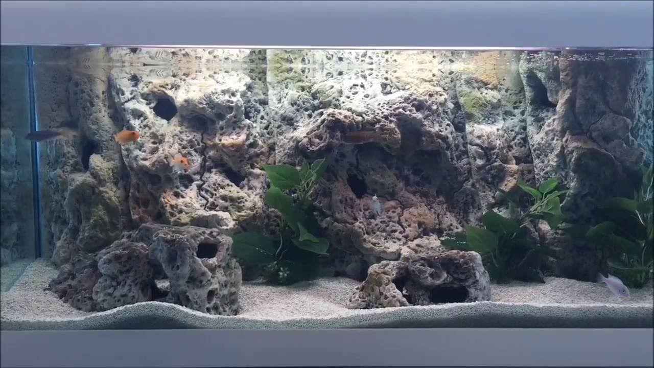 how to install 3d aquarium background - limestone modules - new