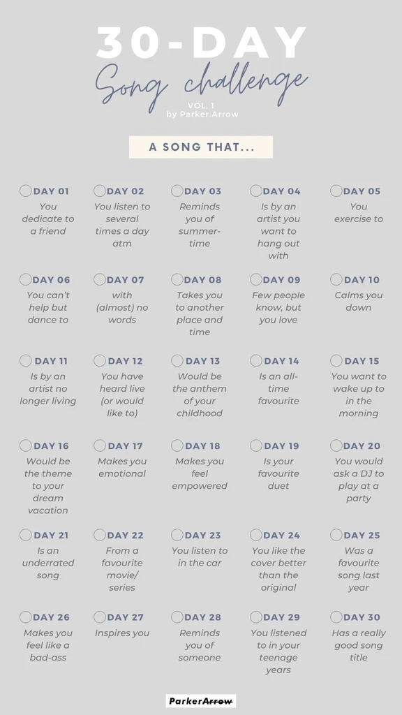 30-Day Song Challenge Template | Instagram Story G
