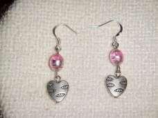 Pink & Silver Foil Glass & Tibetan Silver Hearts Earrings