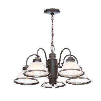 Commercial Electric Halophane 5 Light Oil Rubbed Bronze Chandelier WB0390 ORB