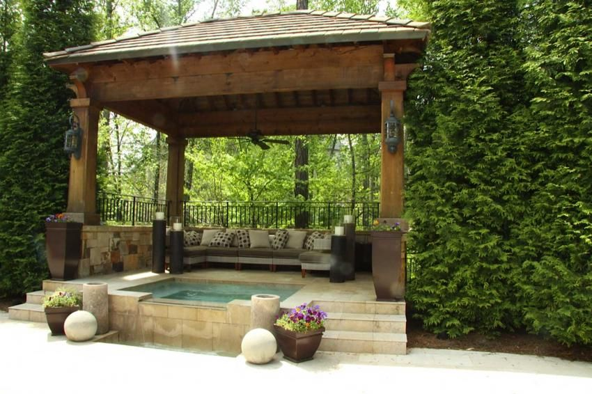 Home Decoration Gorgeous Garden Gazebo Ideas With Small Pool And