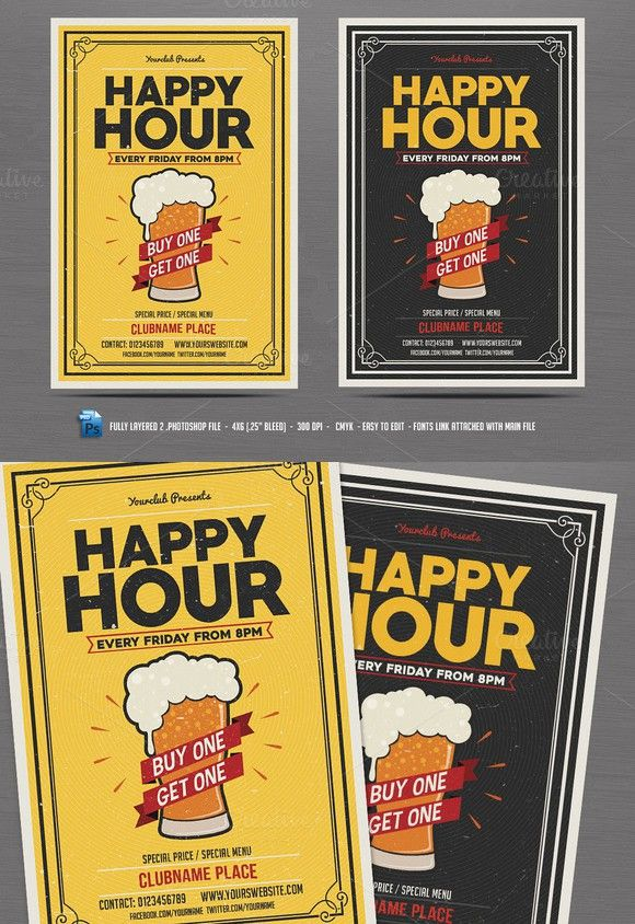 Happy Hour Flyer Templates 700
