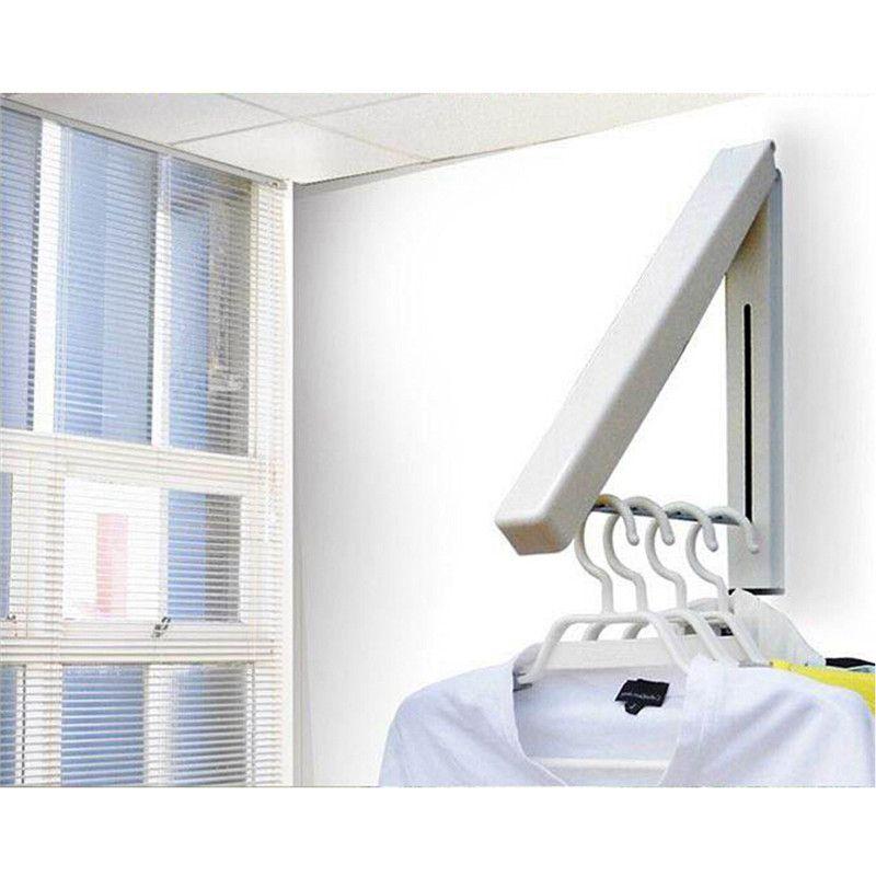 Pas Cher Acier Inoxydable Mur Cintre Retractable Interieur Cintre Magique Pliage Cuisine Sechage Stand Rack Susp Etendoir Linge Portant Vetement Etendoir Mural