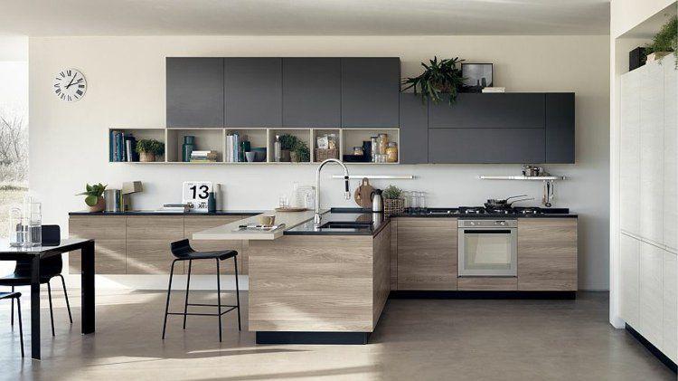 Cuisine Ouverte Sur Salon De Design Italien Moderne Cuisine - Salle a manger italienne design pour idees de deco de cuisine