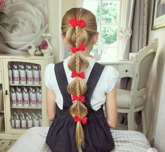 Çocuk Saç Modelleri Örgü Kırmızı Kurdelalı