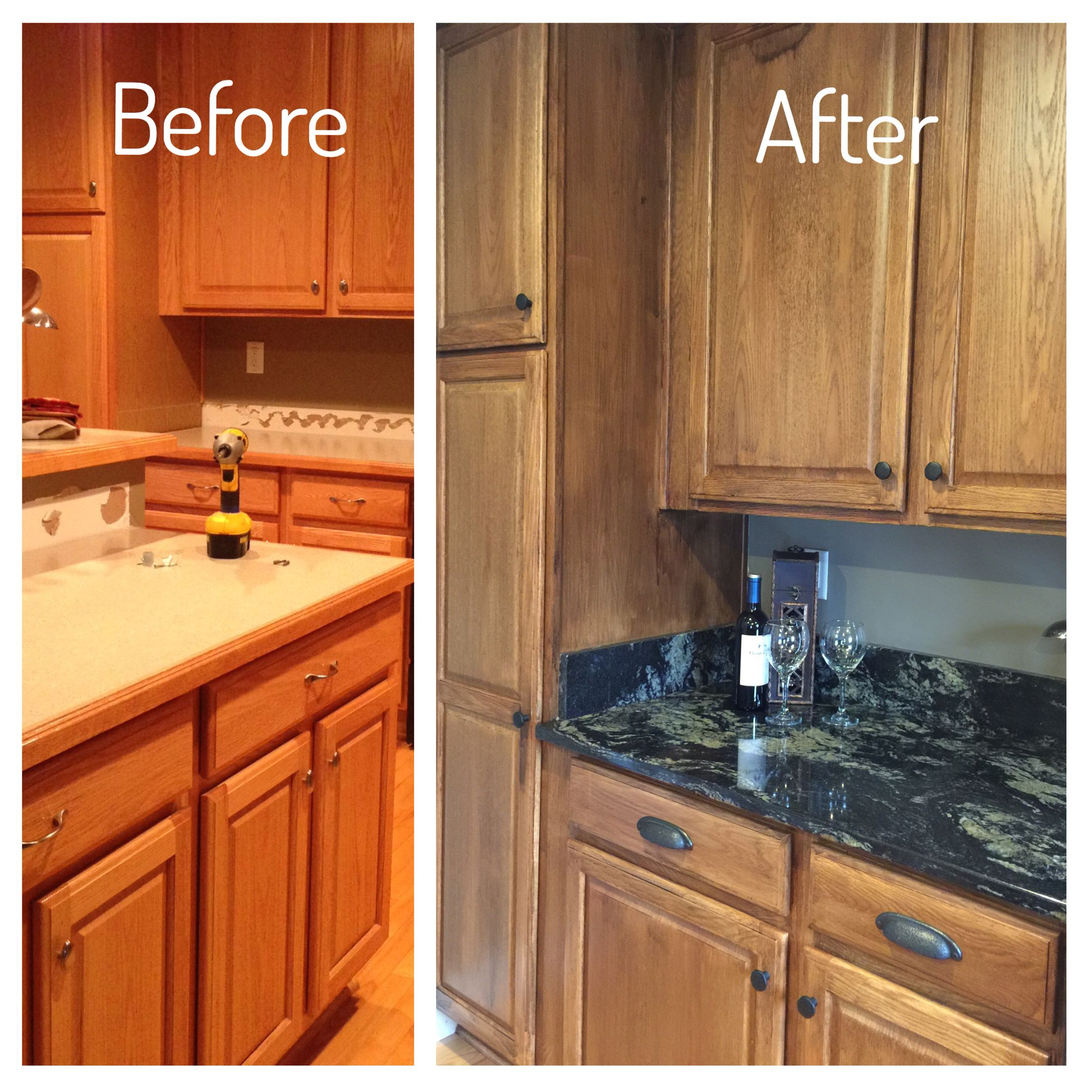 Kitchen Cabinet Makeover Ideas Paint: Kitchen Cabinet Makeover. 2 Coats Of Minwax PolyShade