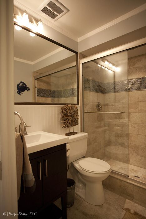Small bath ideas Love the large mirror over the sink and toliet
