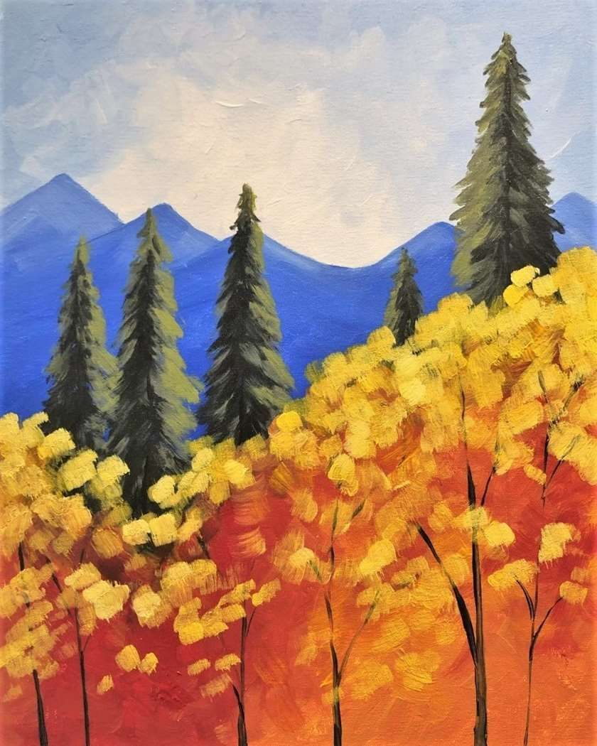 Saturday, November 23 #autumnscenes There's nothing better than cool, crisp, mountain air! Join us to paint this lovely Autumn scene. #autumnscenes