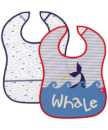 Mothercare Whale Bay Crumb Catcher Bibs - 2 Pack. These cute Whale Bay crumbcatcher bibs help keep mess at bay at mealtimes.
