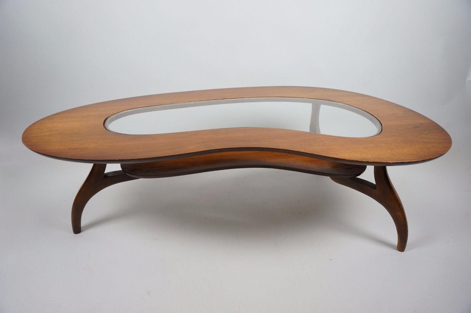 Mid Century Danish Modern Kidney Shaped Coffee Table Eames Kagan