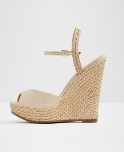 78f3674df6c4 Aldo Shizuko Women US 9 10 11 Nude Wedge Sandal