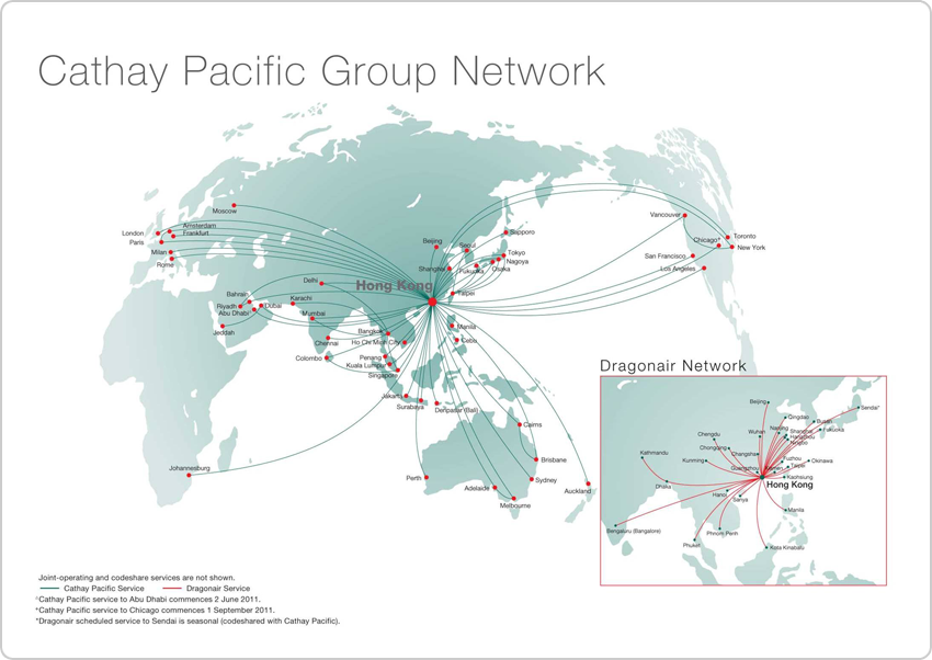 Cathay Pacific alirlines corporate visual graphic identity   route