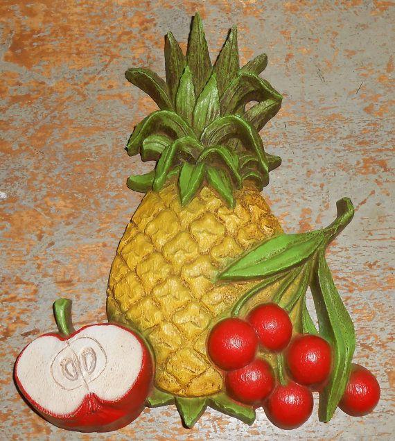 Vintage Wall Decor, Fruit, Plastic, Pineapple, Apple, Cherries ...