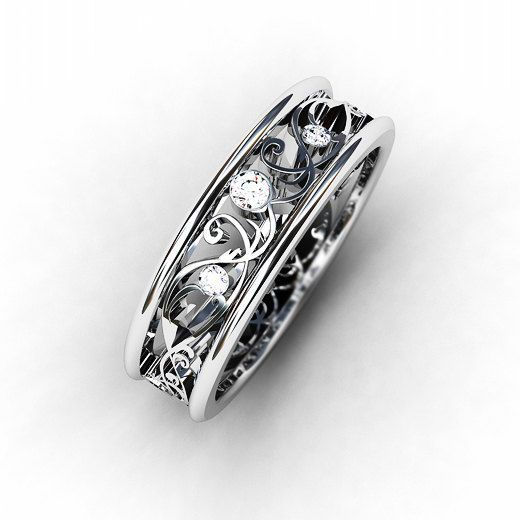 Diamond Ring 18k White Gold Wedding Band Filigree Lace