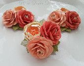 Wedding Corsage - Paper Flowers - Wedding Accessories - Boutonniere - Salmon and Coral - ONE -Made To Order