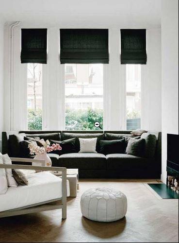 decoracin en blanco y negro con las hermosas cortinas romanas de hunter douglas