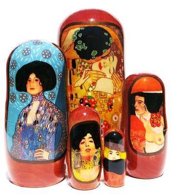 Kiss by Gustav Klimt Art 5 Pc Russian Paintings Nesting Doll Stacking Babushka