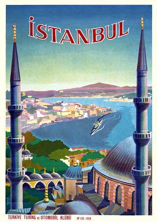 Istanbul, Turkey by Uzmen  http://www.vintagevenus.com.au/products/vintage_poster_print-tv327