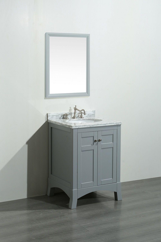 Eviva New York 24 Grey Vanity With White Marble Carrera Counter