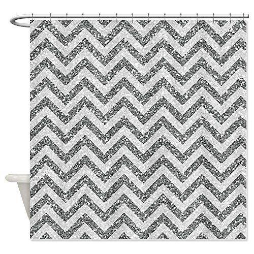 grey and white chevron shower curtain. CafePress Silver Grey Glitter Chevron Shower Curtain  Standard White