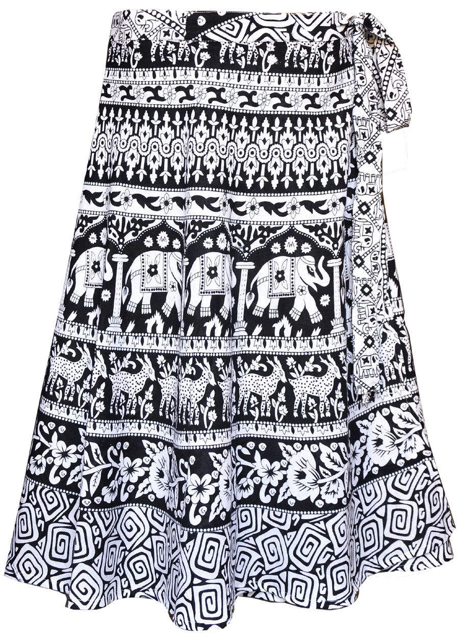 Beautiful Indian wrap skirt for women with elegant hand block print on cotton fabric by the artisans of Rajasthan, India. This Indian wrap around skirt can be worn with matching top and suitable for all occasions.