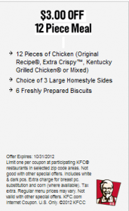 get these kfc printable coupon 3 off 12 piece meal good at