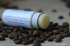 How to make natural coffee lip balm! Soothing recipe with shea butter, coconut oil, cocoa butter, beeswax, and coffee bean infused jojoba oil.