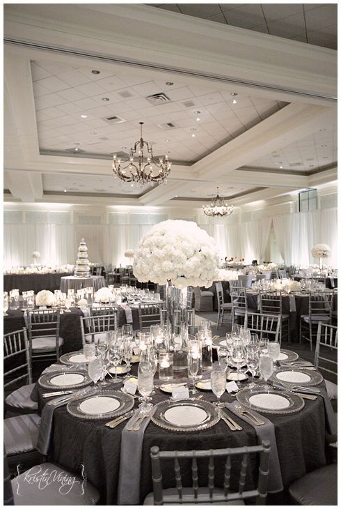 Silver And White Wedding Reception Hurricane Vase Center Pieces Custom Linens Chiavari