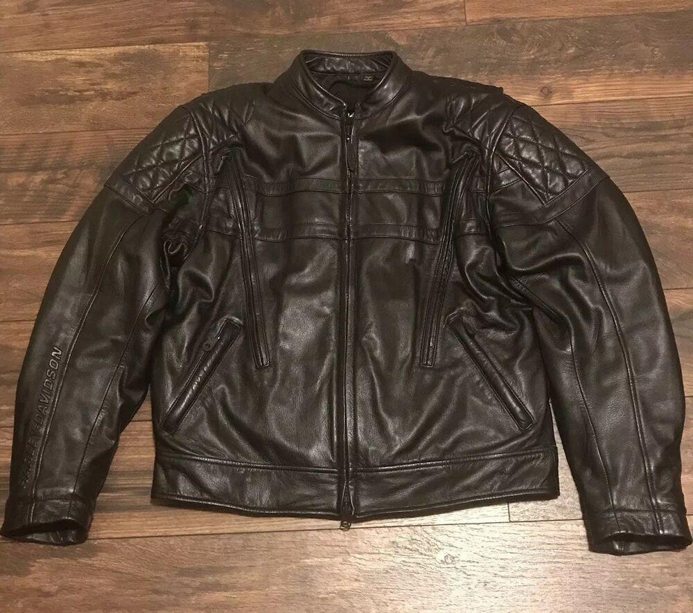 Ebay Sponsored Harley Davidson Fxrg 98513 00vm Vented Leather Riding Jacket Zip Out Liner Sz L Ropa [ 885 x 1000 Pixel ]