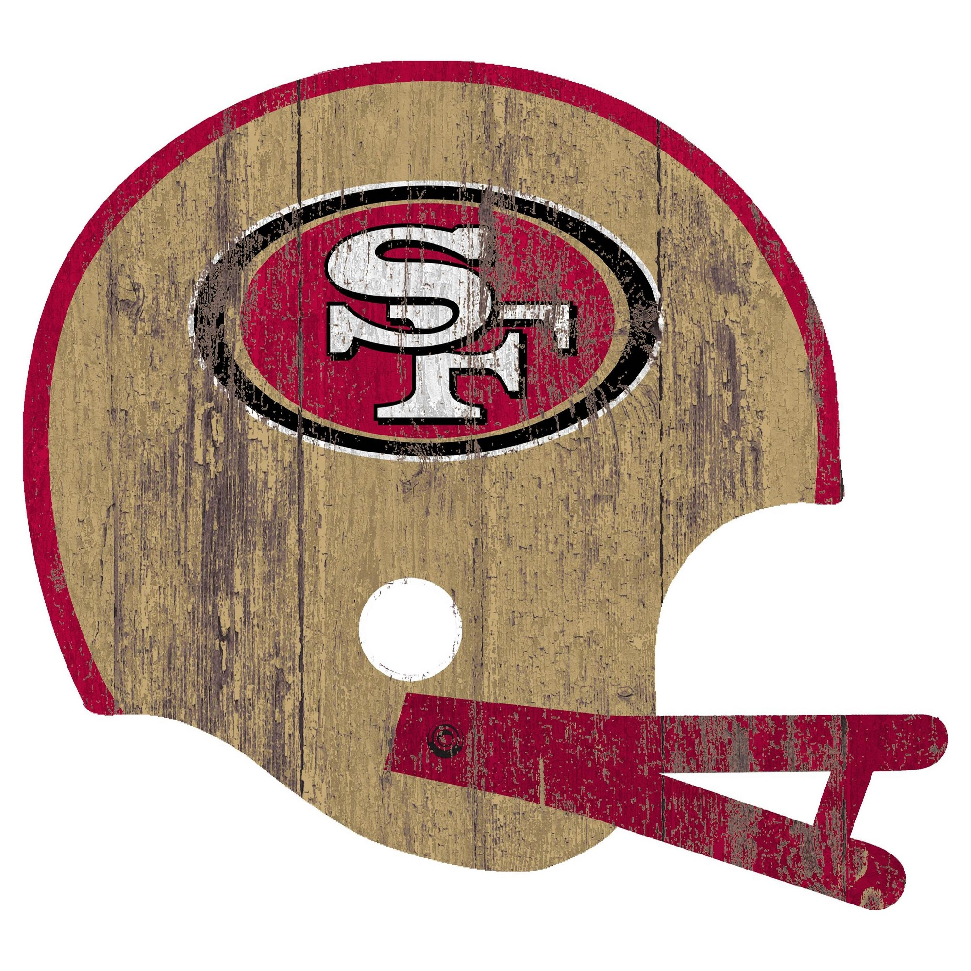 nfl san francisco 49ers fan creations distressed helmet cutout sign