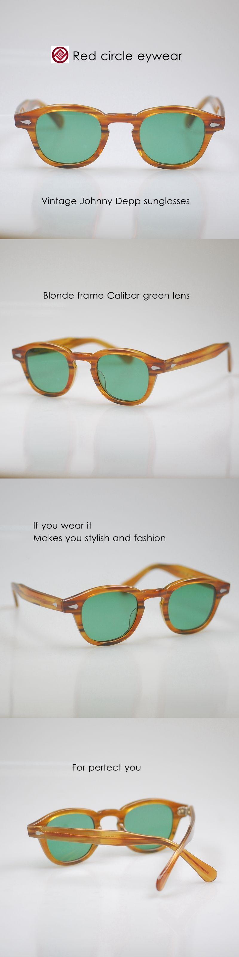 82b970451b Sunglasses 48559  Retro Vintage Sunglasses Johnny Depp Eyeglass Blonde Frame  Calibar Green Lenses -  BUY IT NOW ONLY   52.43 on eBay!