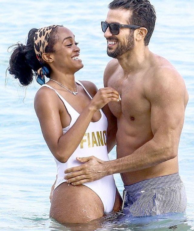Gorgeous interracial couple celebrating their engagement in paradise #love #wmbw #bwwm #swirl #lovingday #relationshipgoals