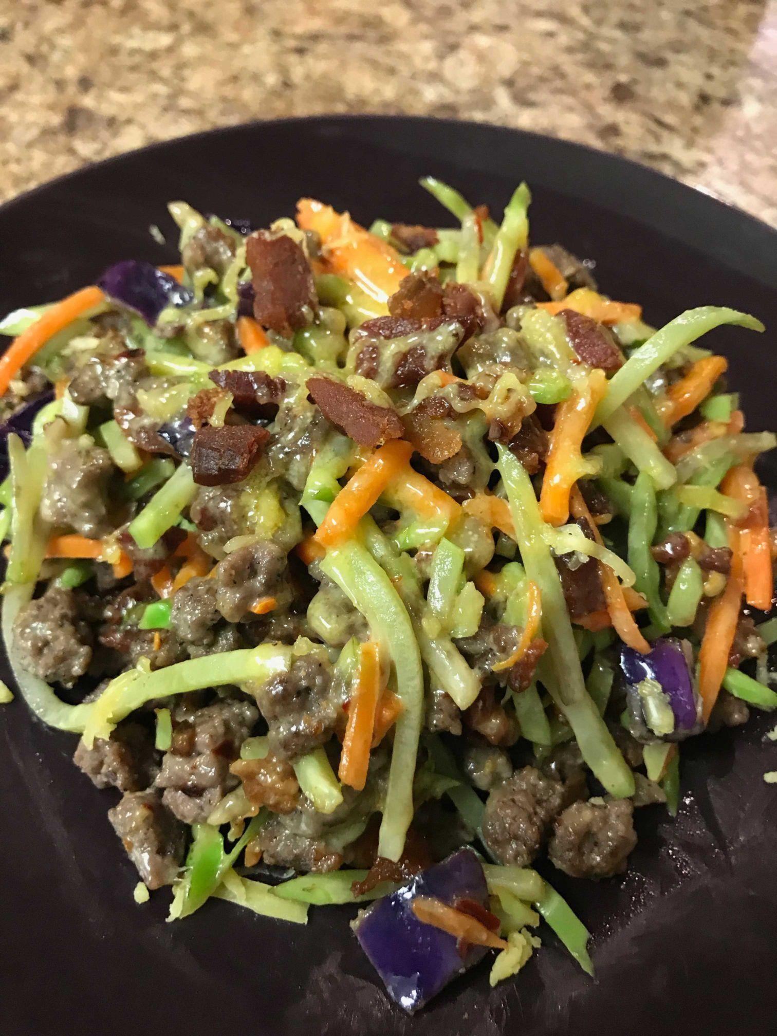Keto Bacon Cheeseburger Broccoli Slaw Easy Keto Recipes Recipe Broccoli Slaw Recipes Broccoli Slaw Keto Recipes Easy